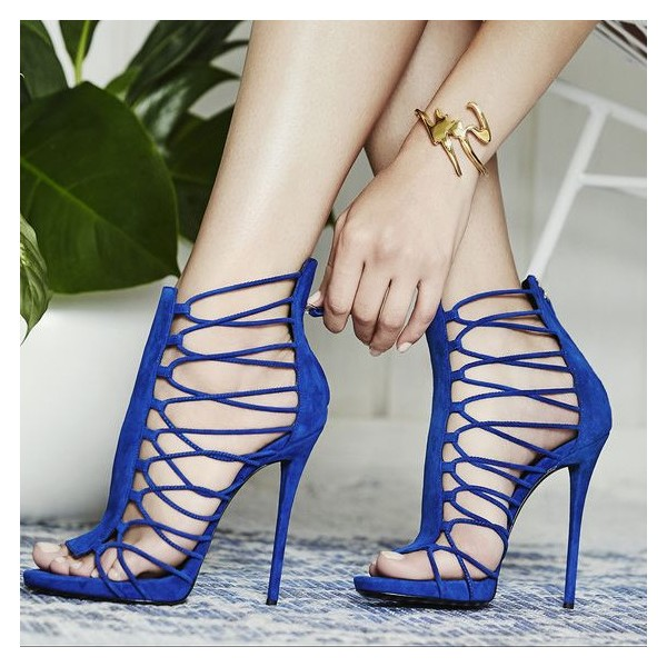 Royal Blue Stiletto Heels Gladiator Sandals Zipper Strappy Sandals image 1