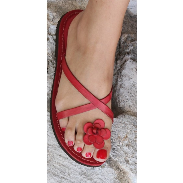Red Beach Sandals Summer Flower Cute Flat Sandals US Size 3-15 image 1