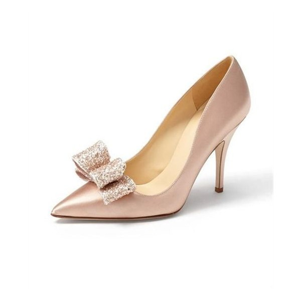 Blush Wedding Heels Glitter Bow Detailed Stiletto Heel Pumps image 1