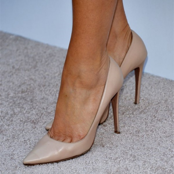 Women's Nude Office Heels Pointed Toe Stiletto Pumps image 1