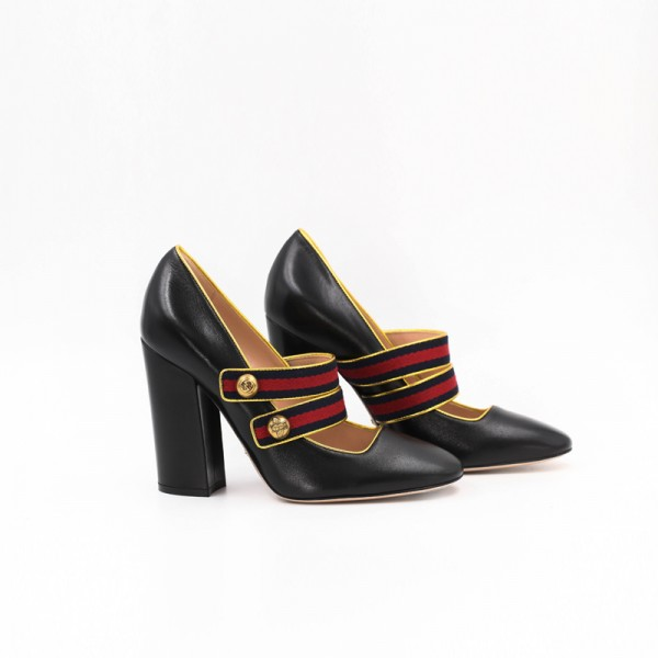 Black Mary Jane Pumps Retro 4 Inches Chunky Heels for Women image 2
