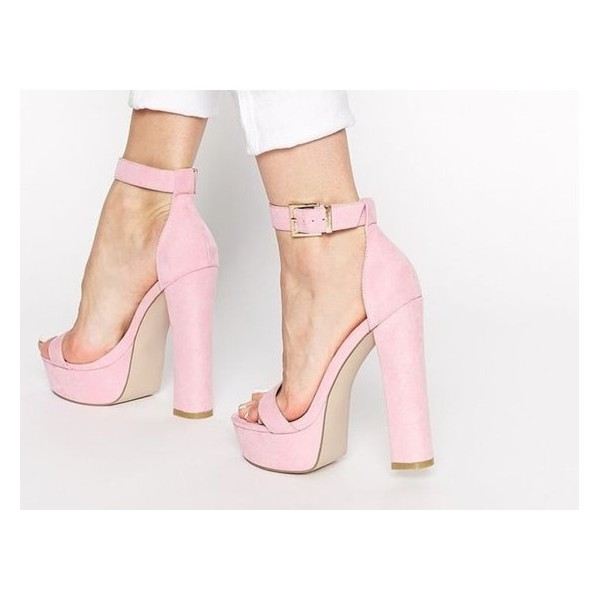 2692e48300a Pink Ankle Strap Sandals Open Toe Chunky Heels Summer Sandals image 1 ...