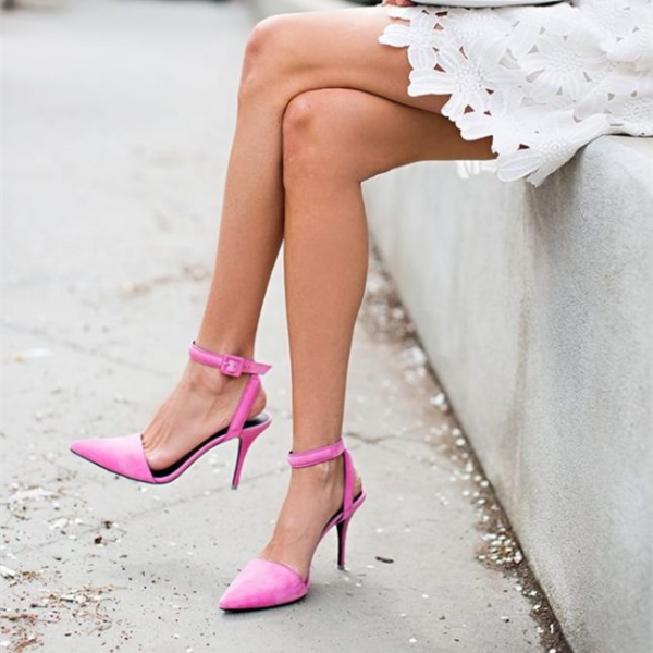 Women's Pink Ankle Strap Sandals Pointy Toe Heels image 1