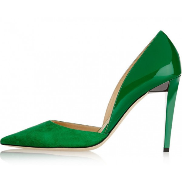 Womens 4 Inch Heels Green Suede Office Heels Pointed Toe Pumps Image