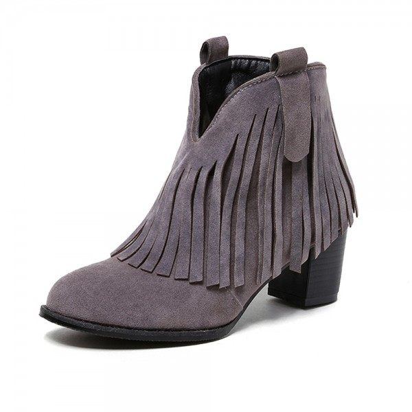 Grey Fringe Boots Round Toe Chunky Heel Suede Ankle Boots image 1
