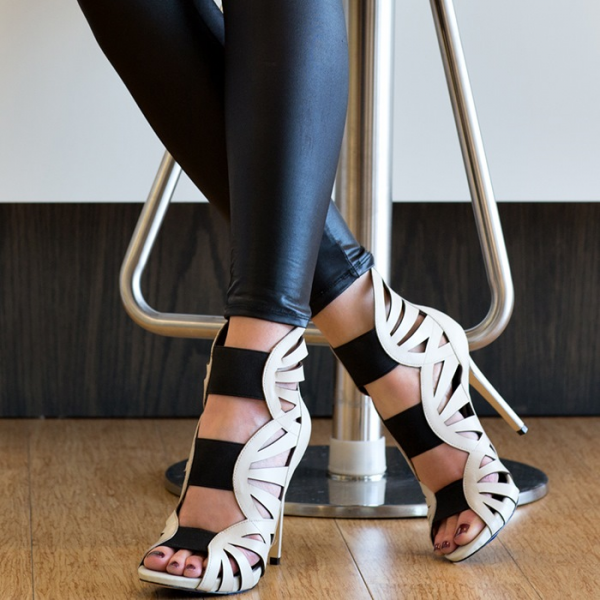 Women's White Gladiator Heels Peep Toe Stiletto Heels Sandals image 1