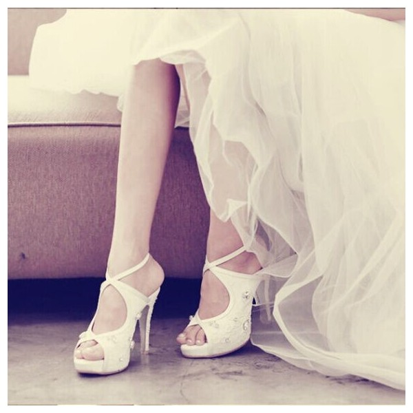 Women's White Platform Rhinestone Cross Over Slingback Stiletto Bridal Heels Pumps  image 1