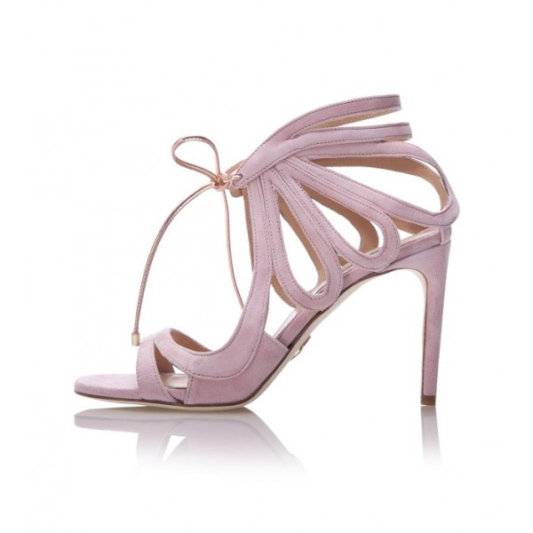 Pink Bridal Sandals Open Toe Suede Lace up Heels for Wedding image 1