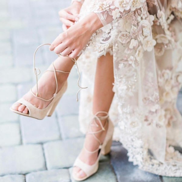 Women's White Strappy Chunky Bridal Heels Pumps image 1