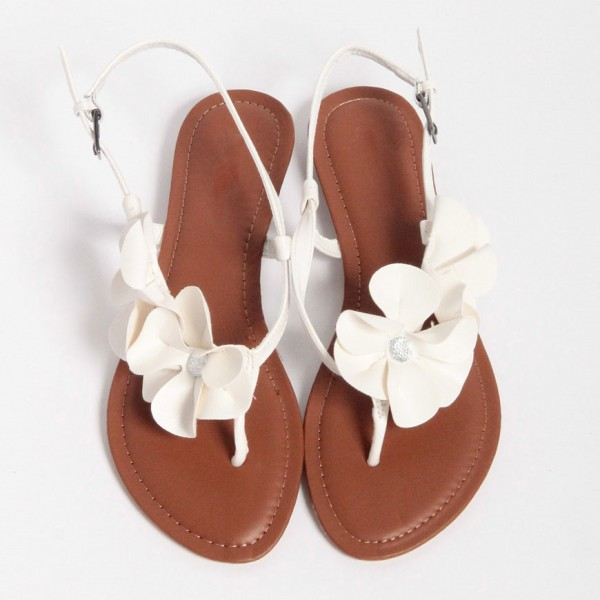 White Flower Rhinestone Flats Wedding Sandals Comfortable Shoes image 1
