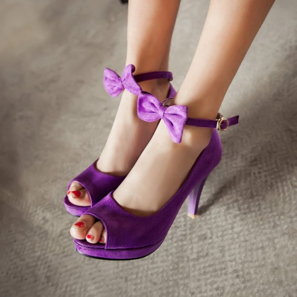Women's Purple Bow Peep Toe Platform Ankle Strap Sandals image 1
