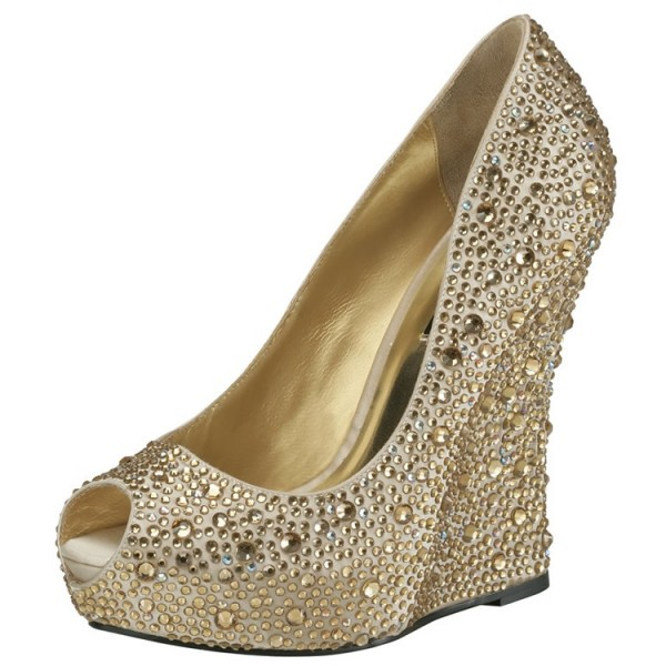Women's Golden Bridal Shoes Platform Rhinestone Wedge Heels Pumps image 1
