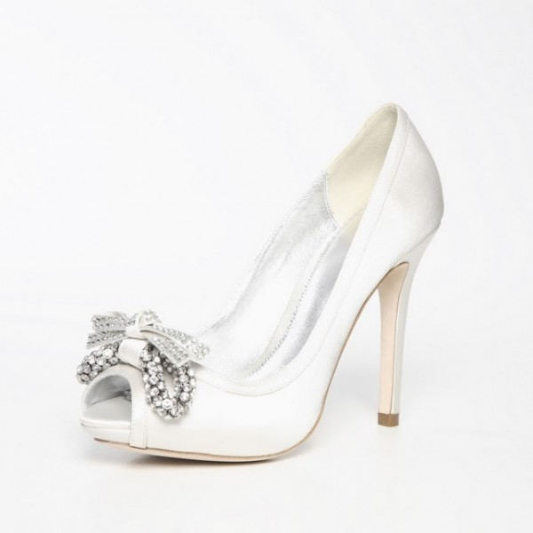 numerous in variety affordable price new Women's White Platform RhinestoneBow Stiletto Heel Pumps Bridal Heels