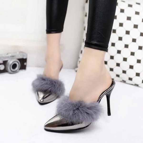Grey Metallic Fur Heels Pointy Toe Stiletto Heel Mules US Size 3-15 image 1
