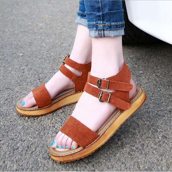 Tan Suede Summer Sandals Open Toe Flats All Size Avaliable image 2