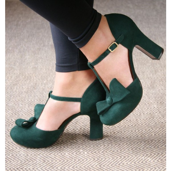 Women's Green Suede Chunky Heel Sandals with Bow image 2