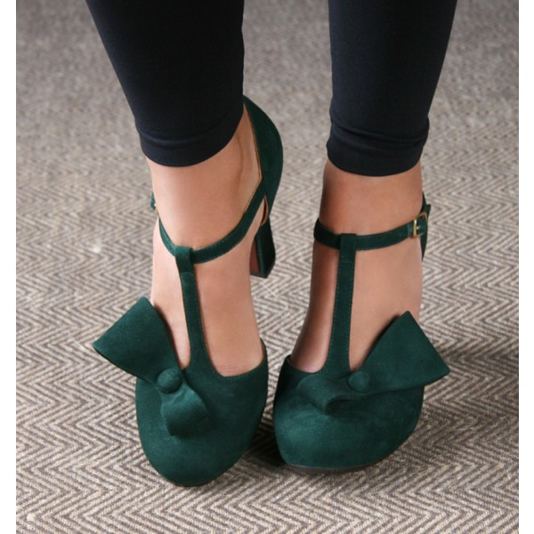 Women's Green Suede Chunky Heel Sandals with Bow image 3