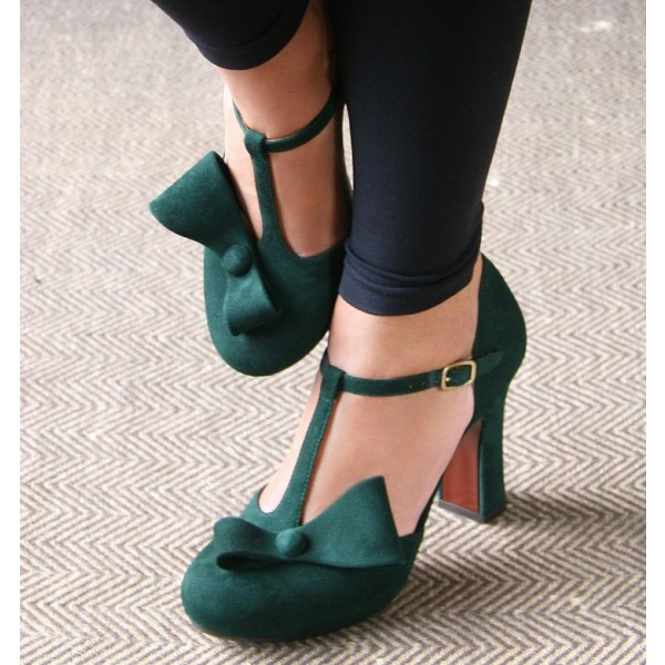 Women's Green Suede Chunky Heel Sandals with Bow image 1
