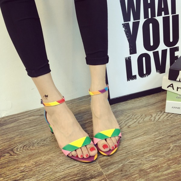 56cacbb8fbb Rainbow Sandals Ankle Strap Open Toe Chunky Heels