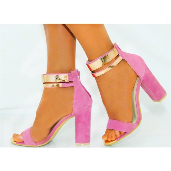 Women's Pink Metal Chains Ankle Strap Sandals Chunky Heels image 2