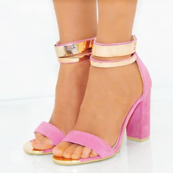 Women's Pink Metal Chains Ankle Strap Sandals Chunky Heels image 1