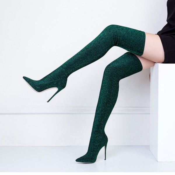 Green Thigh High Heel Boots Pointy Toe Elastic Stiletto Heel Shoes image 3