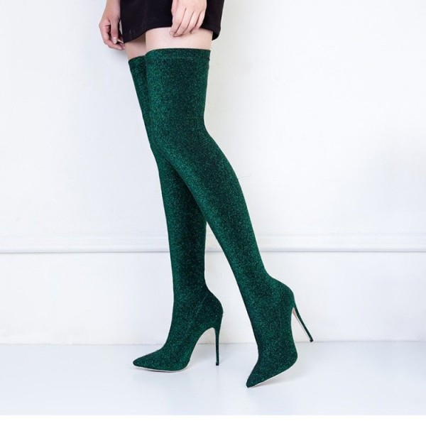 Green Thigh High Heel Boots Pointy Toe Elastic Stiletto Heel Shoes image 1