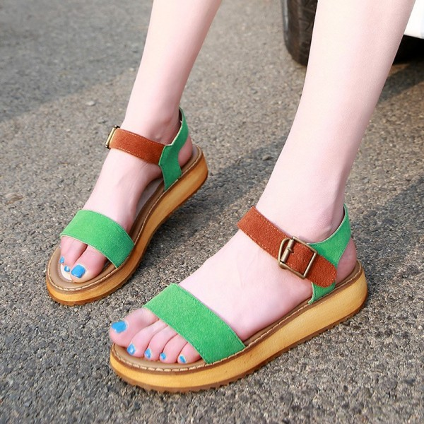 Green and Tan Suede Summer Sandals Open Toe Platform Shoes image 1