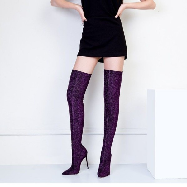 Purple Thigh High Heel Boots Elastic Stiletto Heel Long Boots image 1