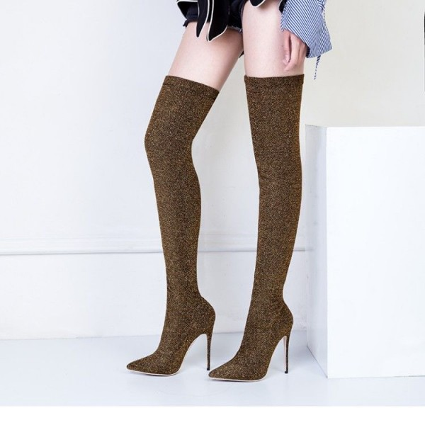 Brown Thigh High Heel Boots Elastic Stiletto Heel Long Boots image 2