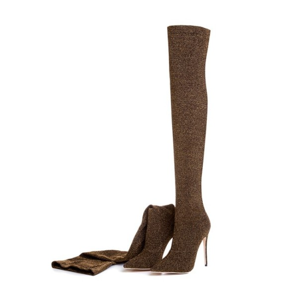 Brown Thigh High Heel Boots Elastic Stiletto Heel Long Boots image 3