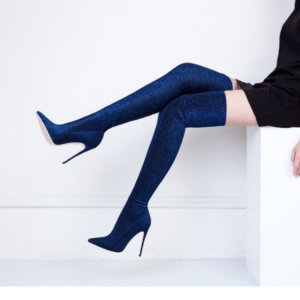 Navy Long Boots Pointy Toe Stiletto Heel Thigh-high Boots