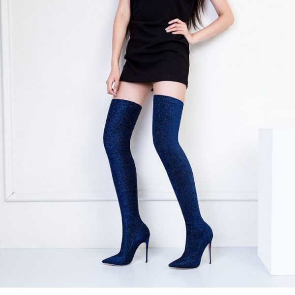Navy Thigh High Heel Boots Elastic Stiletto Heel Long Boots for Women image 3
