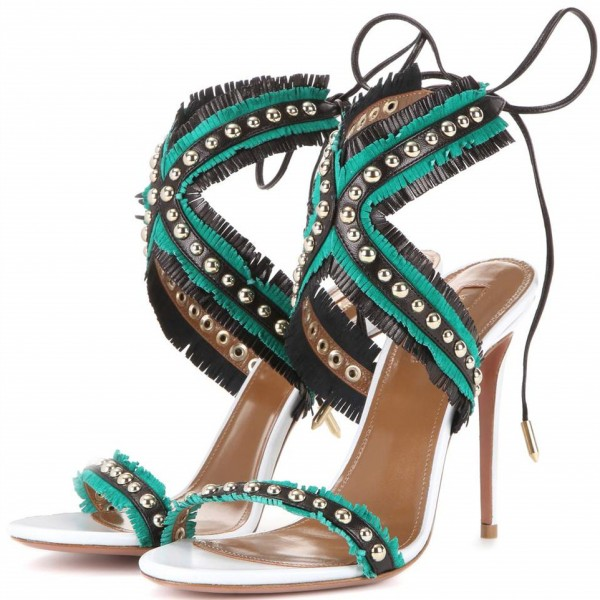 Women's Cyan Open Toe with Metal Lace Up Stiletto Heels  Sandals image 1