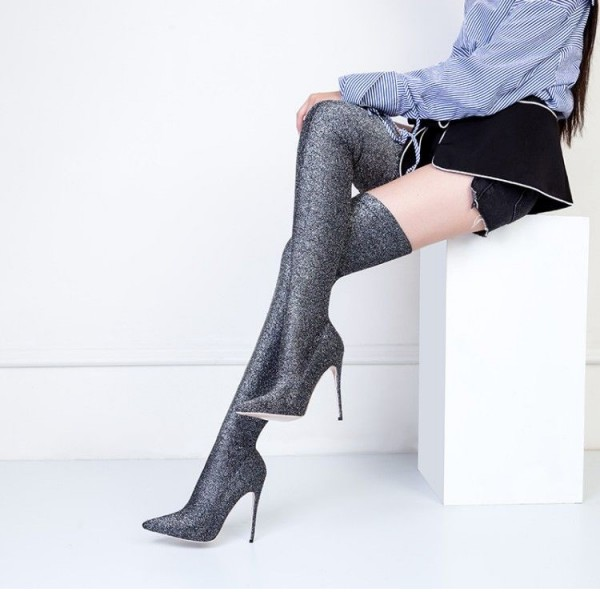 Grey Long Boots Pointy Toe Stiletto Heel Thigh-high Boots image 1