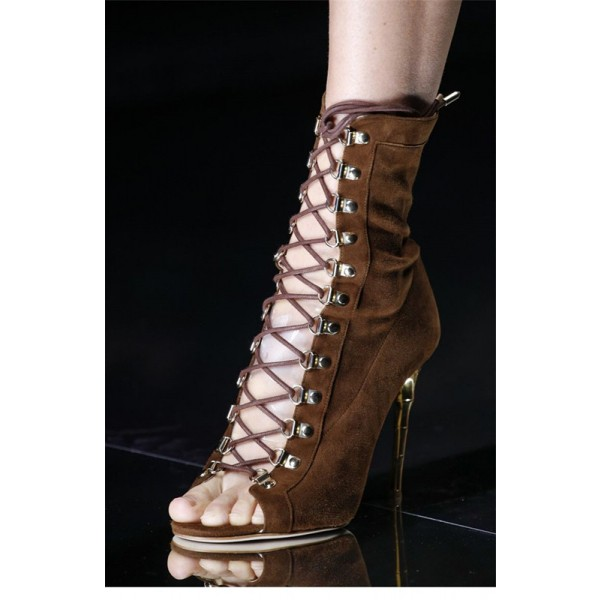 Brown Lace up Boots Stiletto Heel Suede Booties for Women image 2