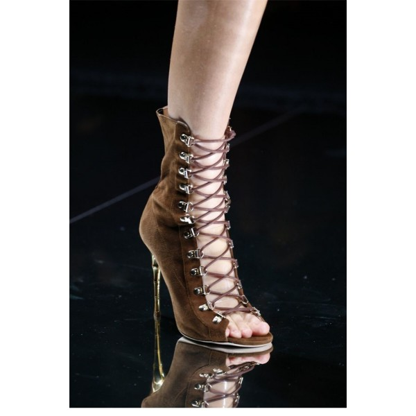Brown Lace up Boots Stiletto Heel Suede Booties for Women image 3