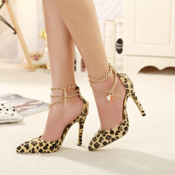 Women's Yellow Leopard Print Heels D'orsay Pumps with Metal Chain image 2