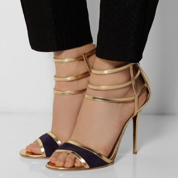 Women's Golden Back Zipper Stiletto Heels Open Toe Sandals image 1