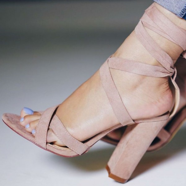 Pink Strappy Sandals Lace-up Suede Block Heels for Women image 1
