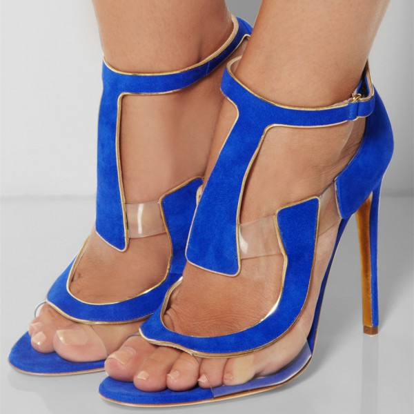 Women's Blue Open Toe  Stiletto Heels T Strap Sandals  image 1