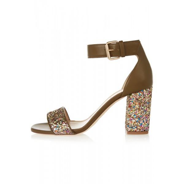 Women's Brownish Glitter Ankle Strap Sandals Block Heels Colorful Dots image 1