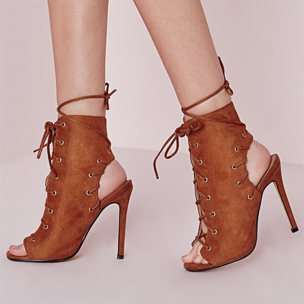 Tan Boots Lace up Slingback Strappy Suede Stiletto Heel Booties image 1