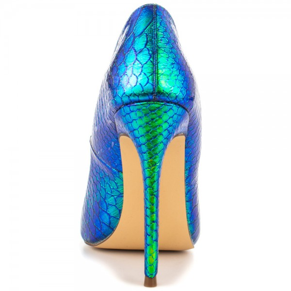 Ariel Green Python Gradient Color Stiletto Heels Pointy Toe Pumps image 2