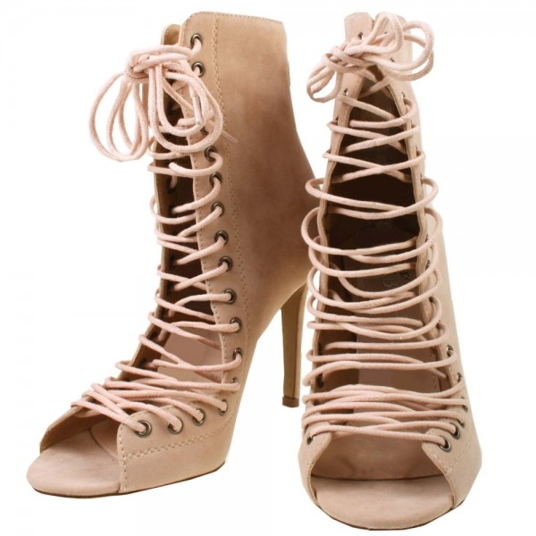 Beige Lace up Boots Open Toe Stiletto Heel Suede Booties for Women image 1