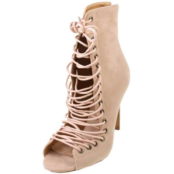 Beige Lace up Boots Open Toe Stiletto Heel Suede Booties for Women image 2