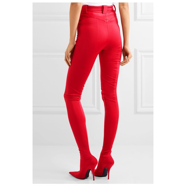 Red Fashion Boots Sexy Stiletto Heels Satin Legging Boots image 2