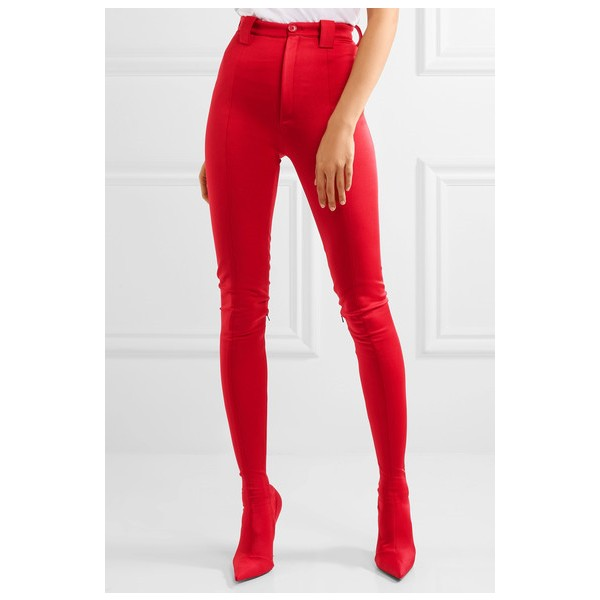 Red Fashion Boots Sexy Stiletto Heels Satin Legging Boots image 1