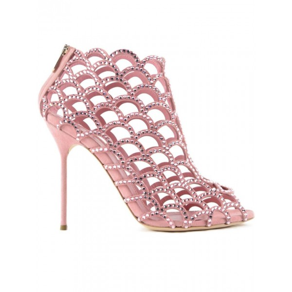 women s pink rhinestone bridal heels cage sandals for