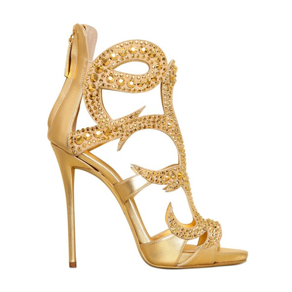 Gold Rhinestone Heels Luxury Cage Sandals for Party image 2